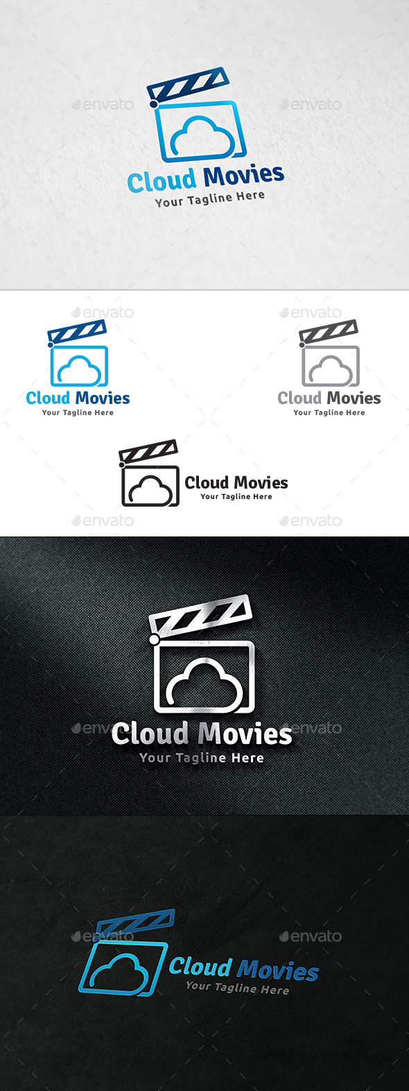 GraphicRiver Cloud Movies Logo Template 11310095