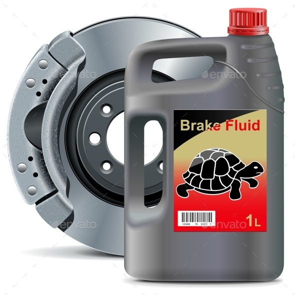 GraphicRiver Vector Brake Fluid with Disk Brake 11310551