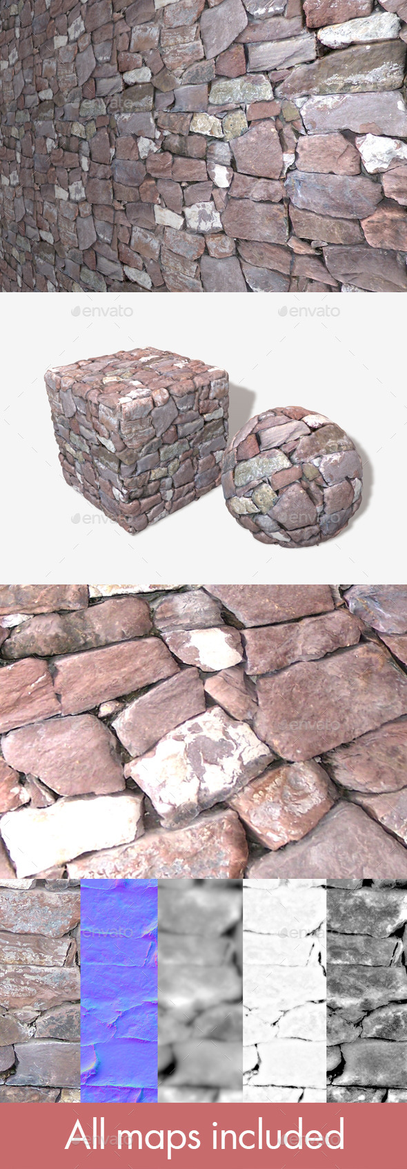 3DOcean Purple Stone Wall Seamless Texture 11310568
