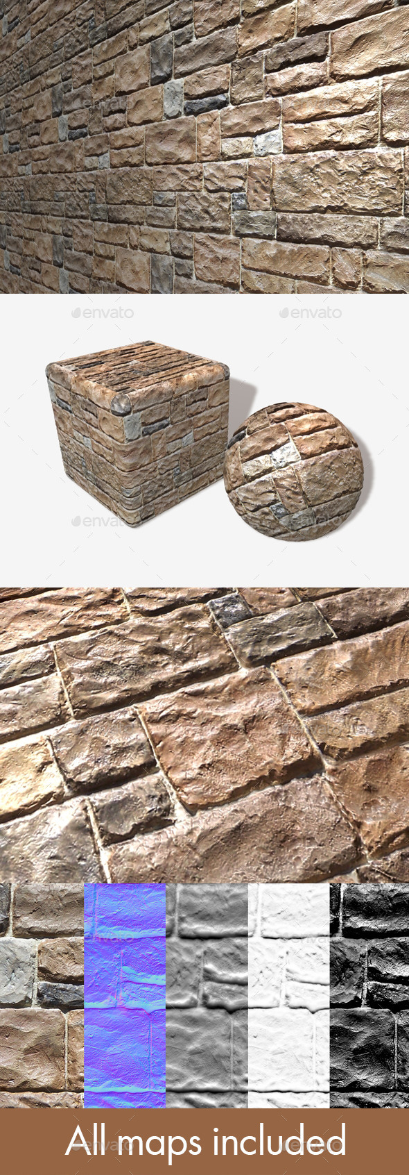 3DOcean Shiny Rough Bricks Seamless Texture 11310670