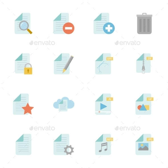 GraphicRiver Files And Documents Color Flat Icons Set 11310720