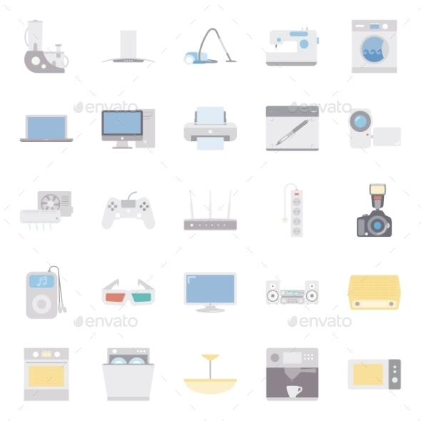 GraphicRiver Home Electrical Appliances Color Flat Icon Set 11310722
