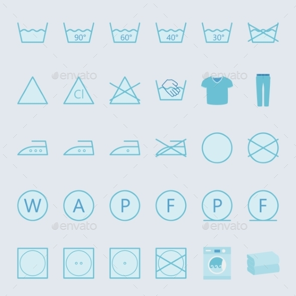 GraphicRiver Washing And Ironing Clothes Color Flat Icon Set 11310723