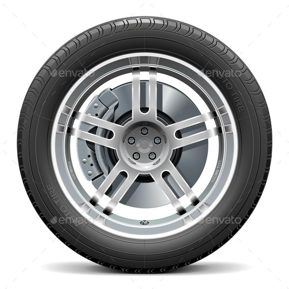 GraphicRiver Vector Car Wheel with Disk Brake 11310769