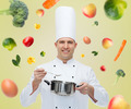 happy male chef cook with pot and spoon - PhotoDune Item for Sale