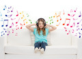 happy girl in headphones listening to music - PhotoDune Item for Sale