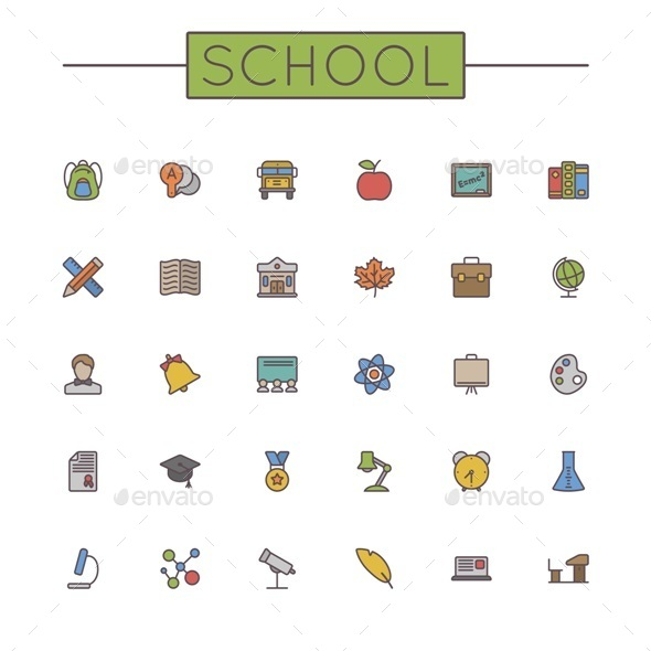 GraphicRiver Vector Colored School Line Icons 11310826