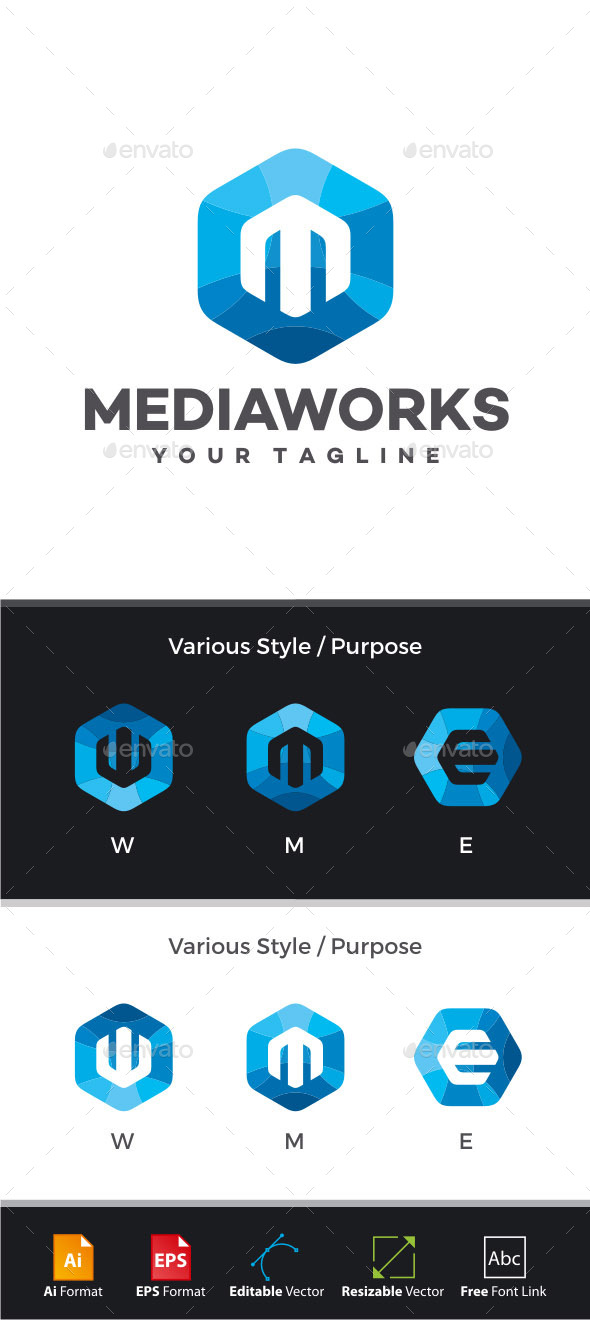 GraphicRiver Media Works Letter M Logo 11310842