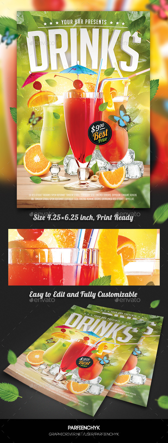 GraphicRiver Drinks Flyer Template 11311084