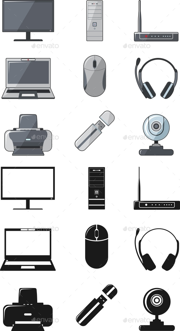 GraphicRiver Digital Computer Equipment Set 11306127