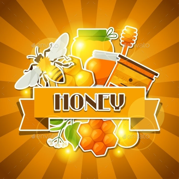 GraphicRiver Background Design with Honey and Bee Stickers 11312163