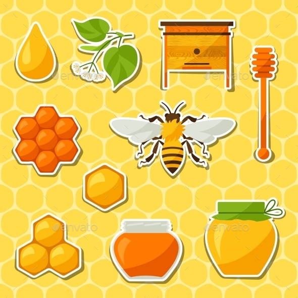 GraphicRiver Background Design with Honey and Bee Objects 11312168