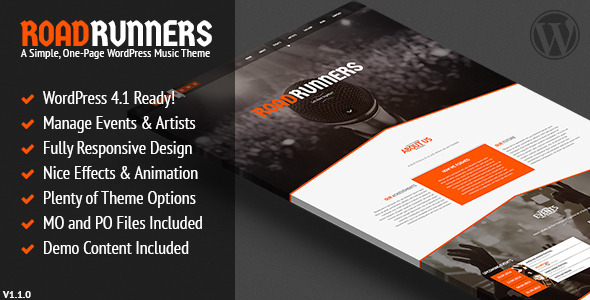 RoadRunners - A One-Page Music WordPress Theme - Music and Bands Entertainment
