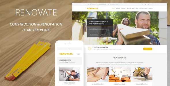 ThemeForest Renovate Construction Renovation Template 11313006