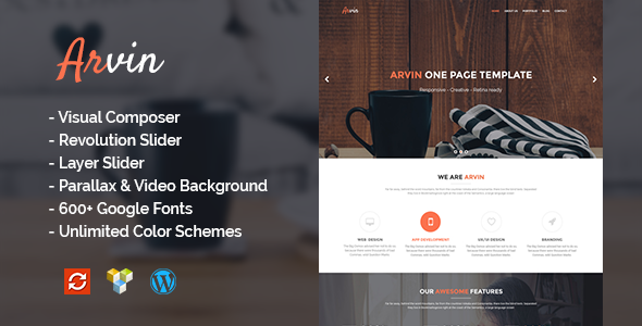 ThemeForest Arvin Multipurpose One Page WordPress Theme 11063737