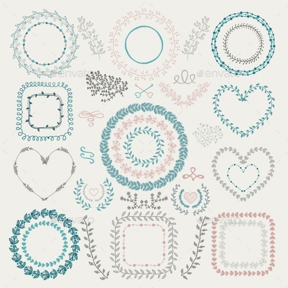GraphicRiver Colorful Hand Drawn Floral Frames 11314045