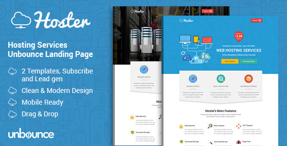 ThemeForest Hoster Hosting Services Landing Page 11314085