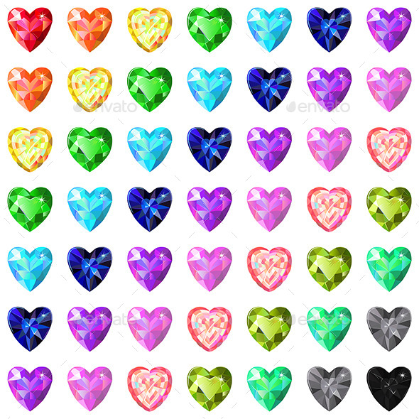 GraphicRiver Colored Heart Cut Gems 11314197