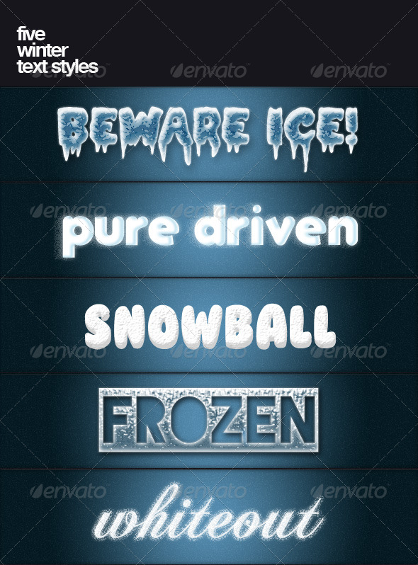 Five winter text styles - Text Effects Styles