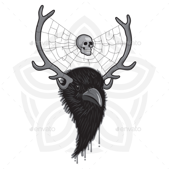 GraphicRiver Horned Raven Head 11314522