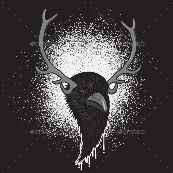 GraphicRiver Horned Raven Head 11314534