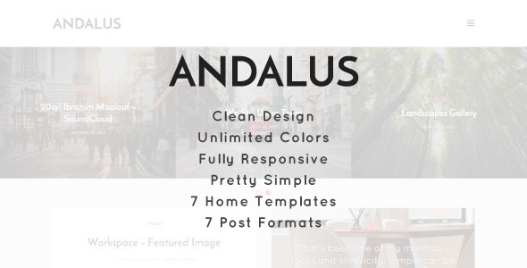 ThemeForest Andalus Clean Responsive WordPress Blog Theme 10949108
