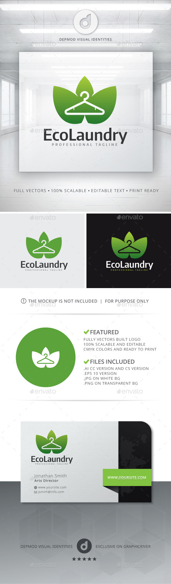 GraphicRiver Eco Laundry Logo 11314629