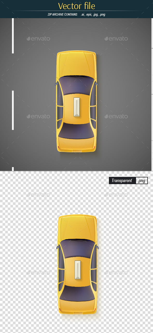 GraphicRiver Yellow Car on the Road Top View 11315173