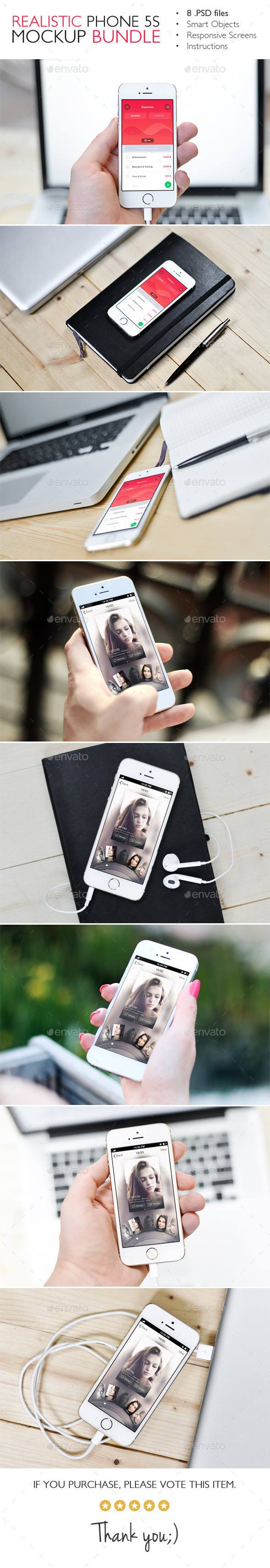 GraphicRiver Realistic Phone 5s Mockup Bundle 2 in 1 11315174