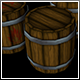 Low Poly Wooden Barrel Closed