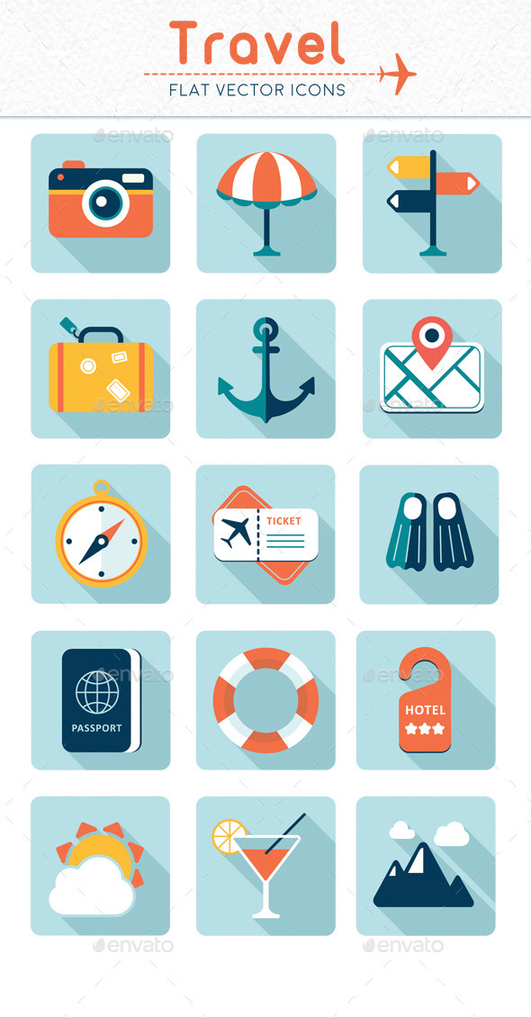 GraphicRiver Travel Flat Vector Icons 11315376