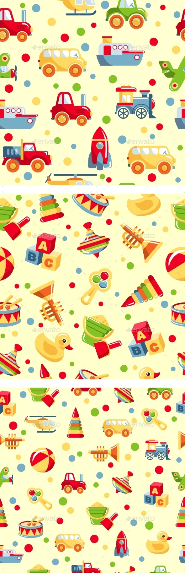 GraphicRiver Seamless Toys Patterns 11315580