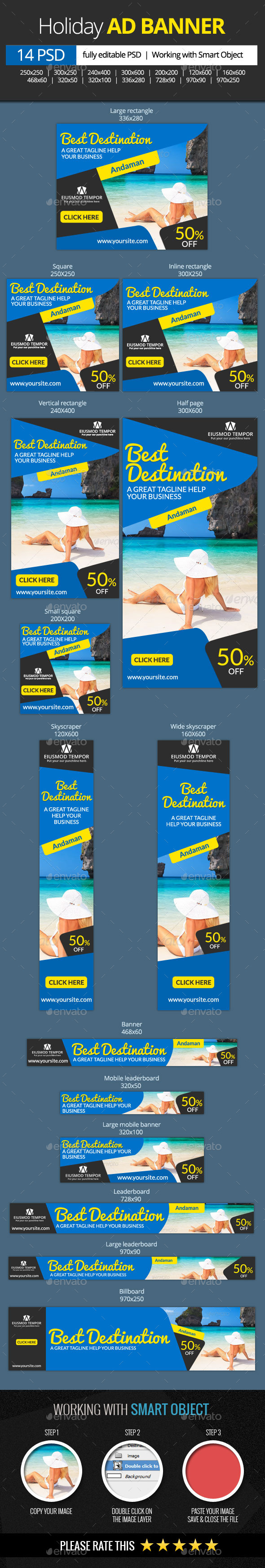 GraphicRiver Holidays and Vacation Web Banners 11315872