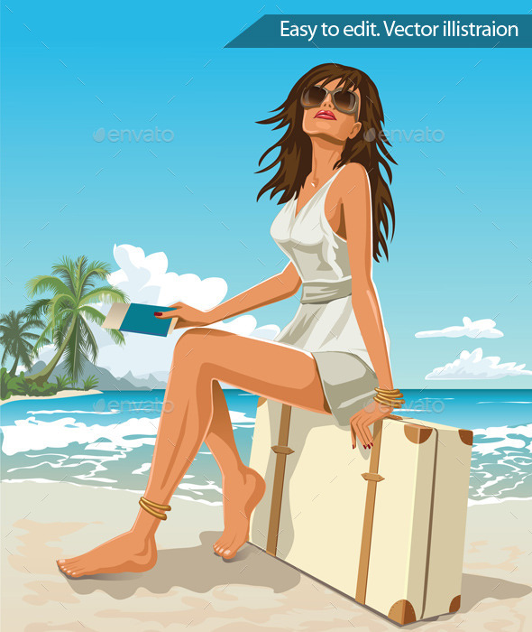 GraphicRiver Traveler Girl Sitting on a Suitcase 11316096