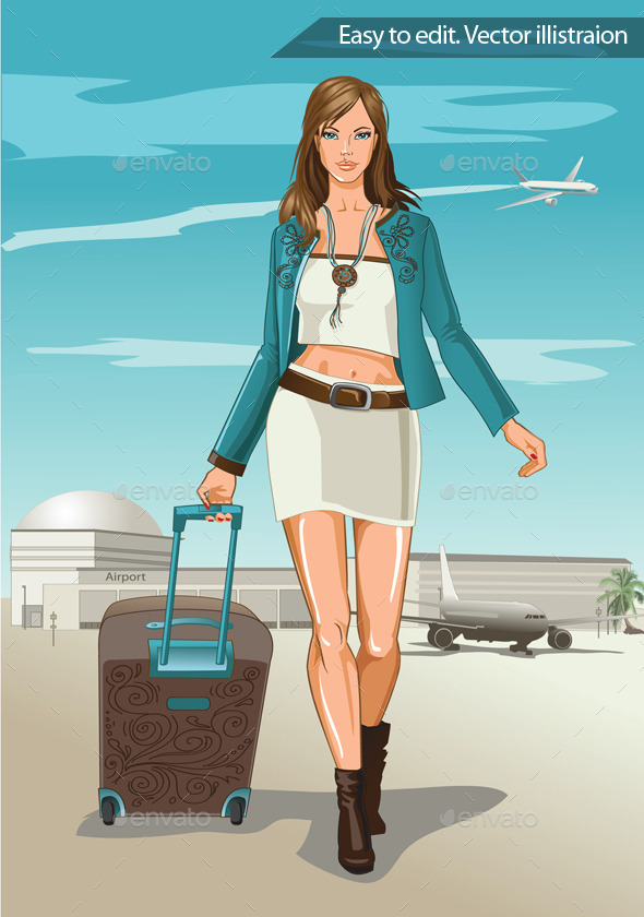 GraphicRiver Girl Walks with a Suitcase 11316152