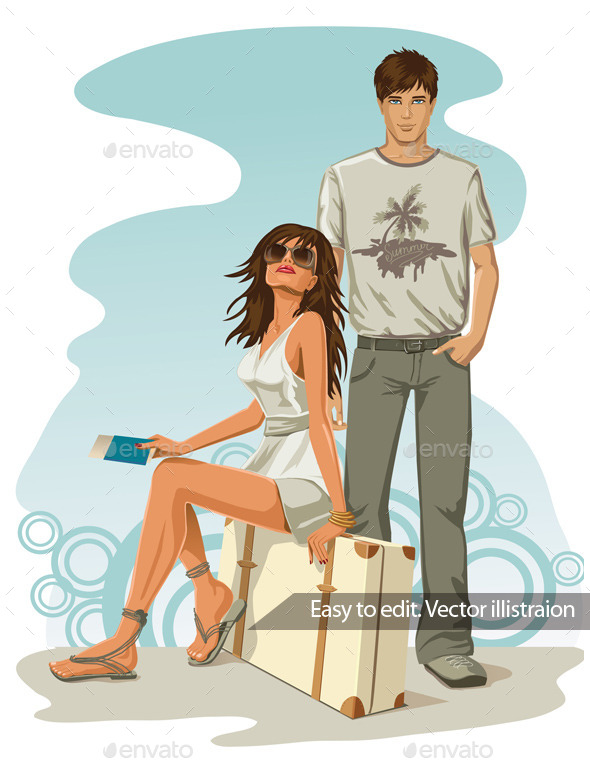 GraphicRiver Man and Woman Ready for a Holiday Travel 11316200