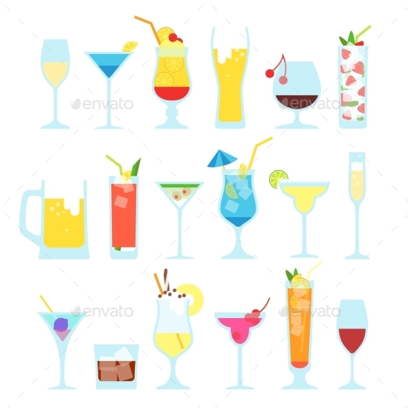 GraphicRiver Set of Different Alcoholic Cocktails 11316204