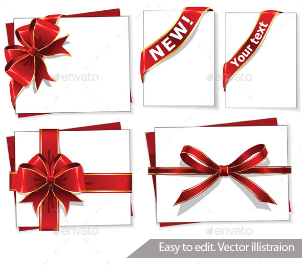 GraphicRiver Set of Red Gift Bows with Ribbons 11316633