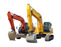 modern excavators isolated on the white - PhotoDune Item for Sale