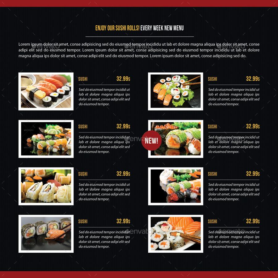Sushi restaurant menu square 3 fold brochure 03 by for Akina japanese cuisine menu