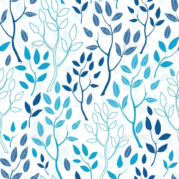 GraphicRiver Vector Blue Forest Seamless Pattern Background 11317105