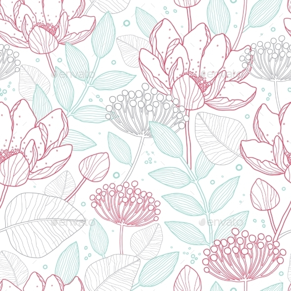 GraphicRiver Vector Modern Line Art Florals Seamless Pattern 11317132