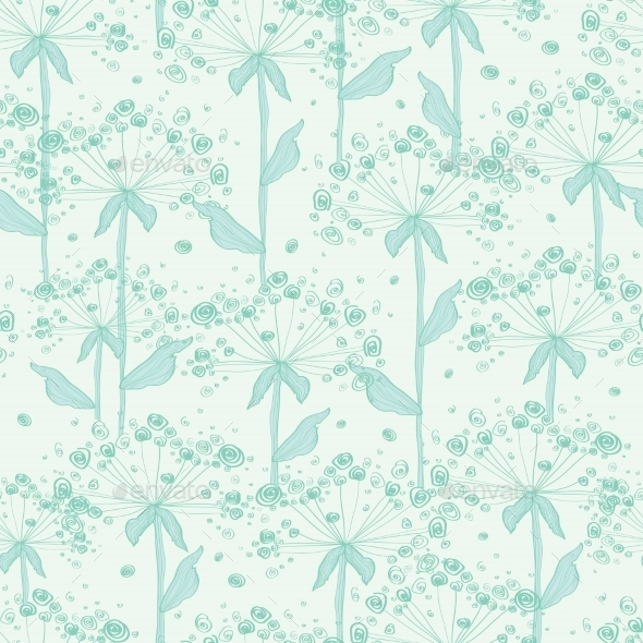 GraphicRiver Vector Summer Line Art Dandelions Seamless Pattern 11317165
