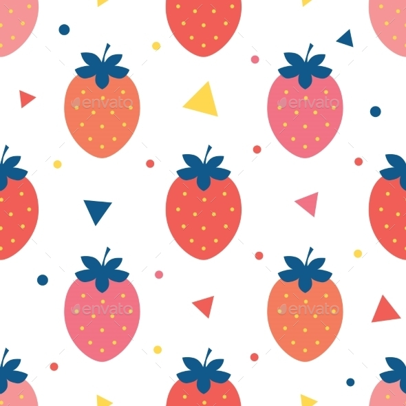 GraphicRiver Vector Fun Strawberries Seamless Pattern 11317194