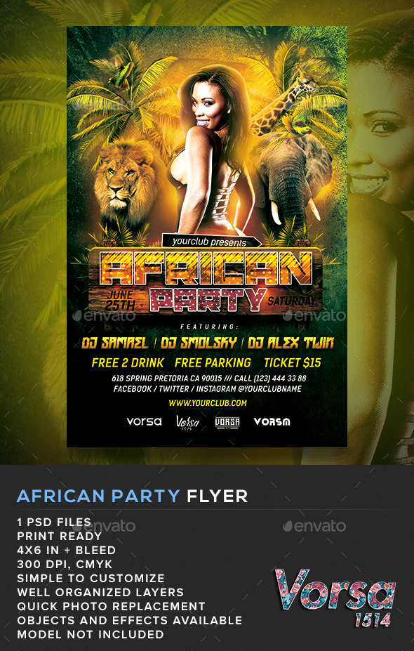 GraphicRiver African Party Flyer 11317384