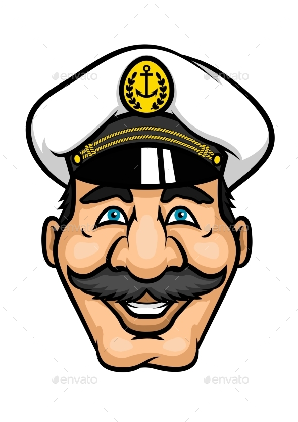 GraphicRiver Cheerful Moustached Captain Character In Cap 11317562