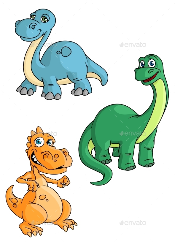 GraphicRiver Cartoon Green Blue And Orange Dinosaur 11317566