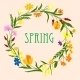 Greeting Card Template With Spring Wildflowers