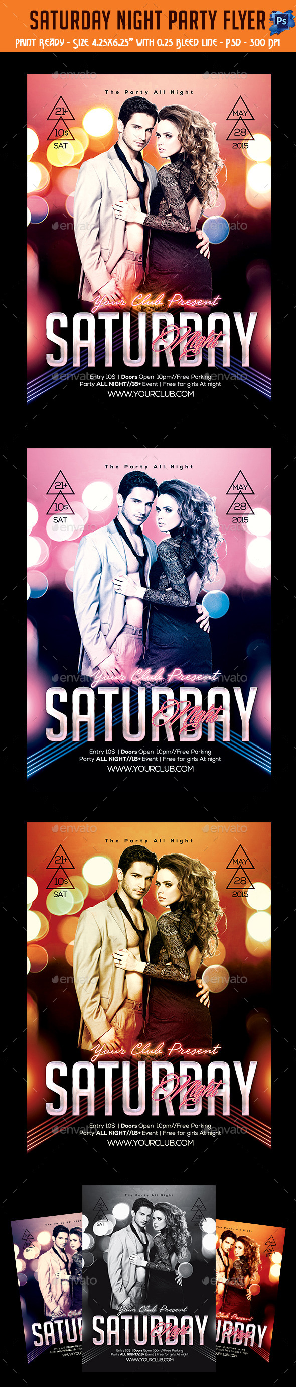 GraphicRiver Saturday Night Party Flyer 11317999