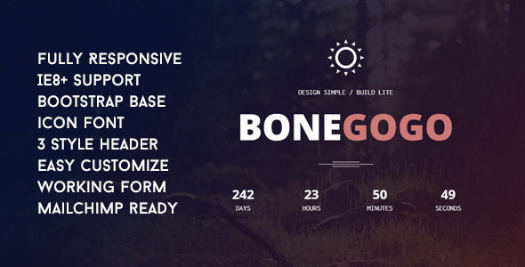 BoneGoGo - Responsive Coming Soon Template - Under Construction Specialty Pages